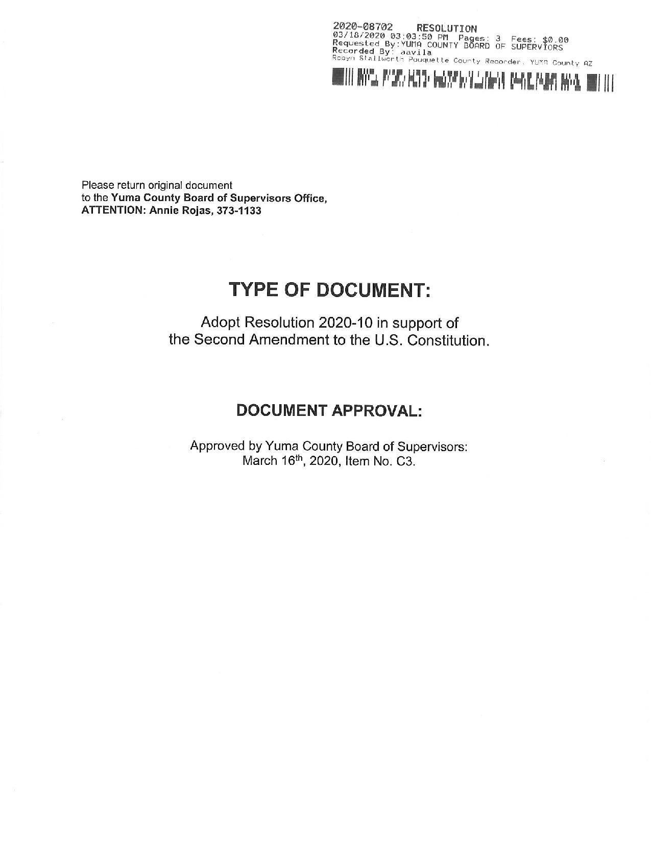 Yuma County Arizona Resolution Page 1