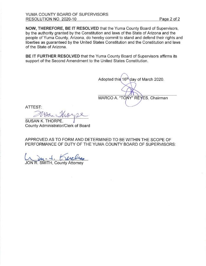 Yuma County Arizona Resolution Page 3