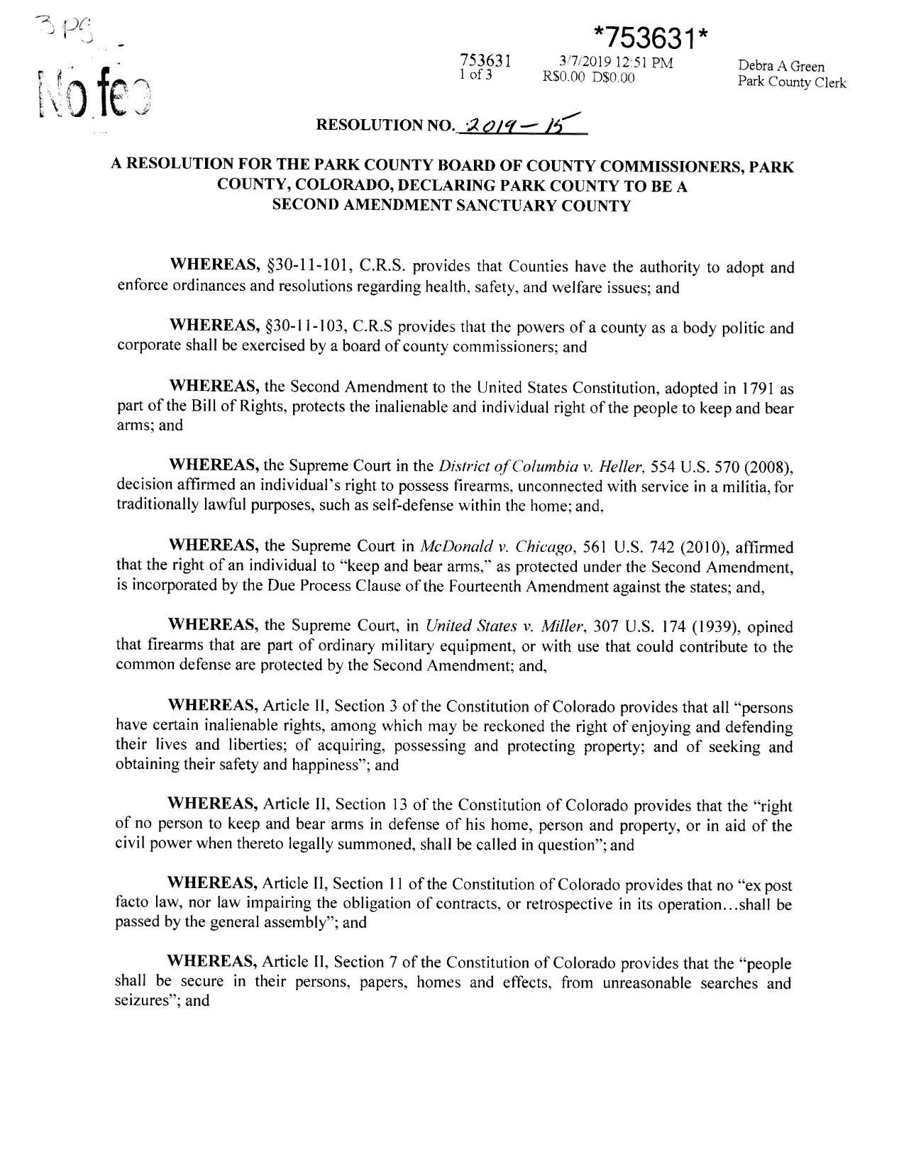 19-15 Declaring Park County Second Amendment Sanctuary County_Page_1