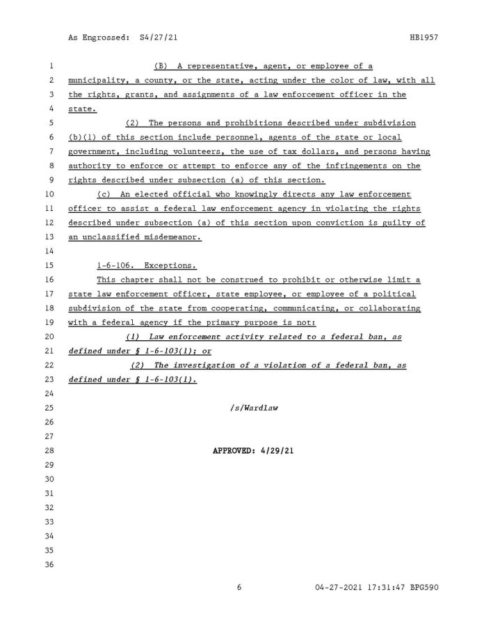 Arkansas Act1012 - CONCERNING THE ENFORCEMENT OF FEDERAL FIREARM BANS WITHIN THE STATE OF ARKANSAS - CONCERNING STATE CONSTITUTIONAL RIGHTS Page 6