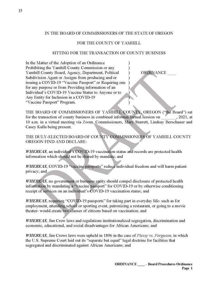 Yamhill County, OR Vaccine Passport Sanctuary Draft Page 1