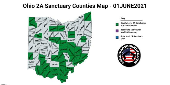 Ohio Second Amendment Sanctuary Updated Map June 01 2021