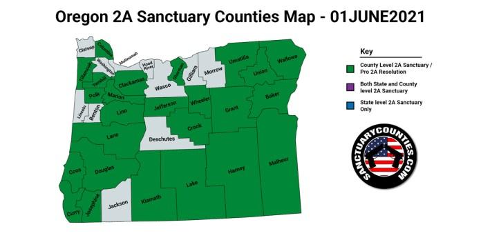 Oregon Second Amendment Sanctuary Updated Map June 01 2021