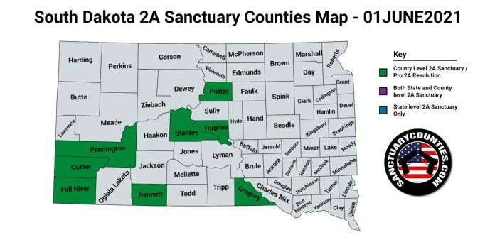 South Dakota Second Amendment Sanctuary Updated Map June 01 2021