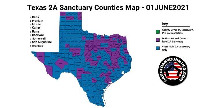 Texas Second Amendment Sanctuary Updated Map June 01 2021