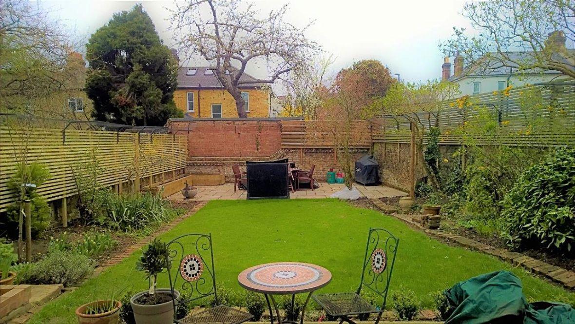 Garden with cat fencing