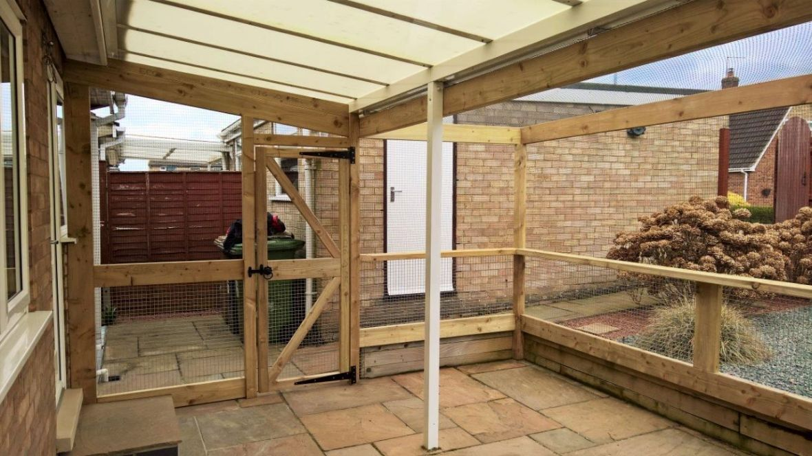 Catio with plactic roof