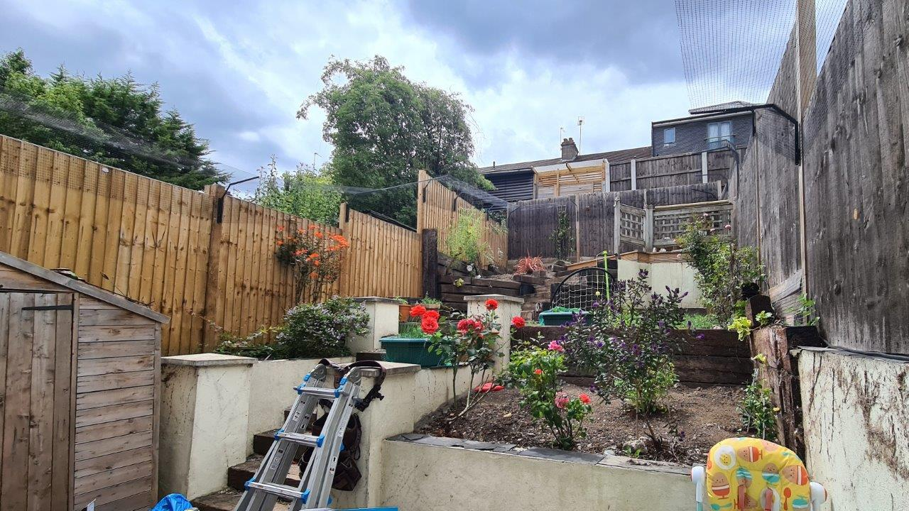 Cat fence for steep garden