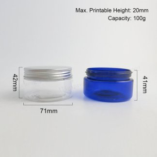 Plastic- PET Jar- Clear-Aluminum Screw Lid-10x100gms