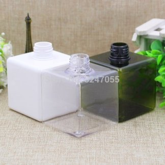 250ML White Plastic Square Shampoo Refillable Bottle, 5 pieces