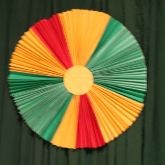Pleated Paper circle, 3 primary colours, green, red, and yellow 34×34