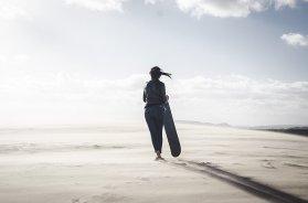 Sandboarding in Stockton Beach, Port Stephens, Australia