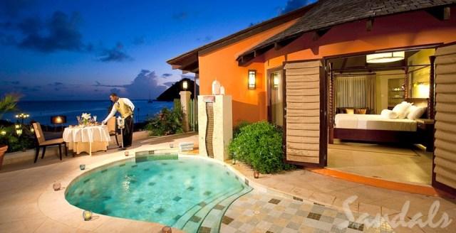 Villa de luxe lune de miel tout compris Sandals Resorts avec piscine privée