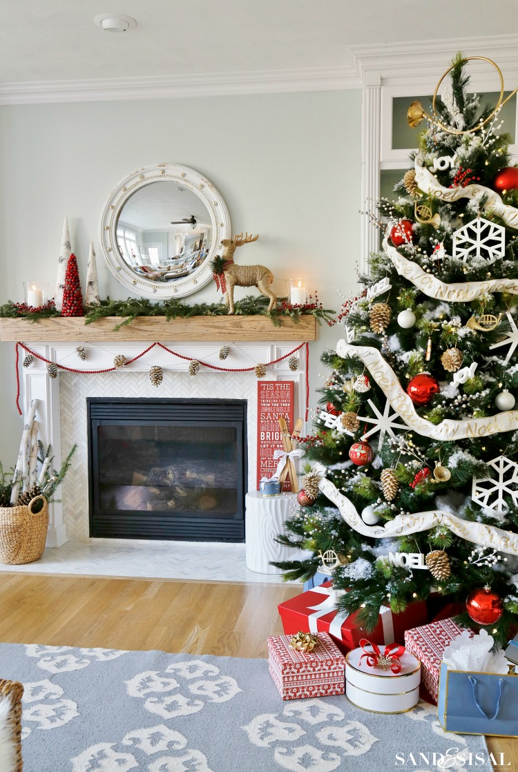 Birch Wood Fireplace Logs Winterberry Red, White And Blue Christmas Family Room