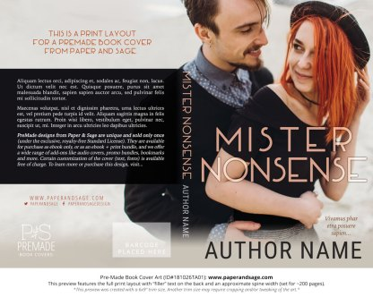 Print layout for Pre-Made Book Cover ID#181026TA01 (Mister Nonsense)
