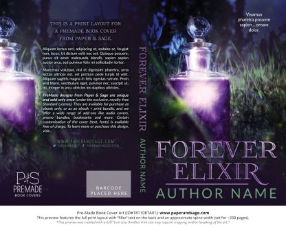 Print layout for Pre-Made Book Cover ID#181107TA01 (Forever Elixir)