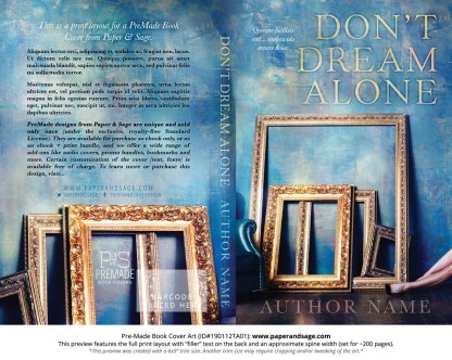 Print layout for Pre-Made Book Cover ID#190112TA01 (Don't Dream Alone)