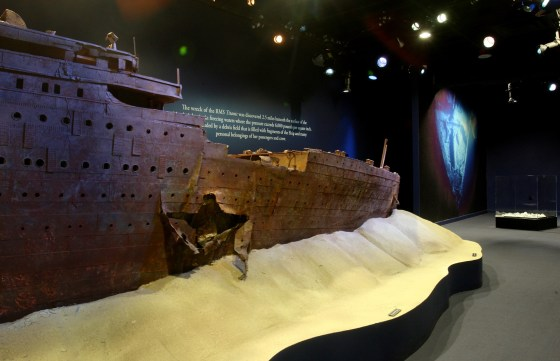 A model Titanic The Artifact Exhibition in Las Vegas shows wha the ship looked like when it was discovered