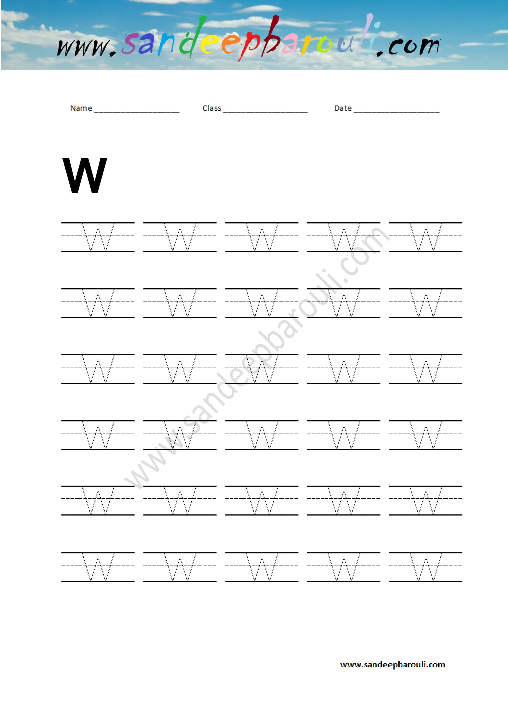 Handwriting Practice Letter W Sandeepbarouli