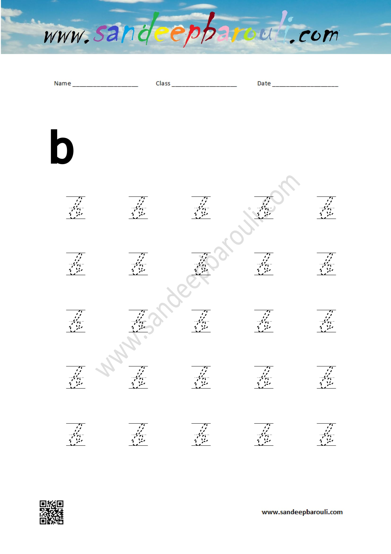 Cursive Writing Worksheet For Small Letters B