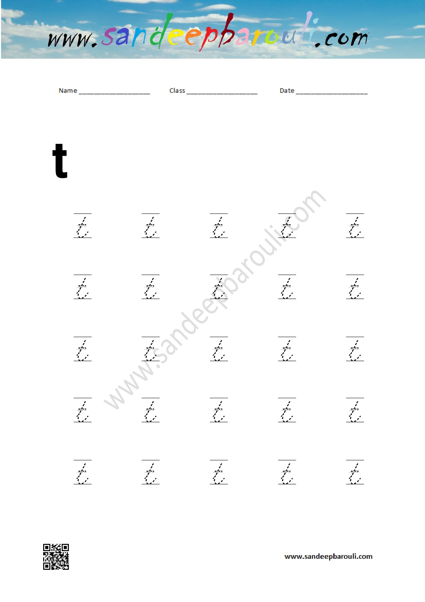 Cursive Writing Worksheet For Small Letters T Sandeepbarouli