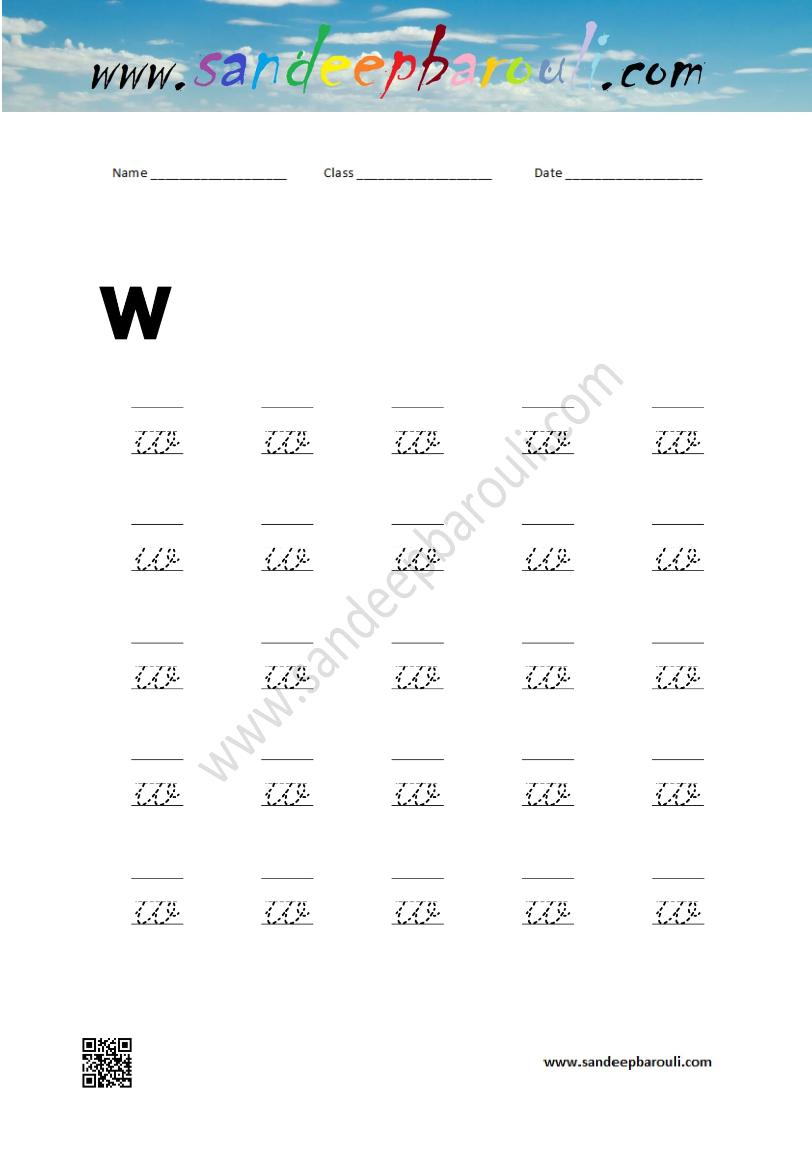 Cursive Writing Worksheet For Small Letters W