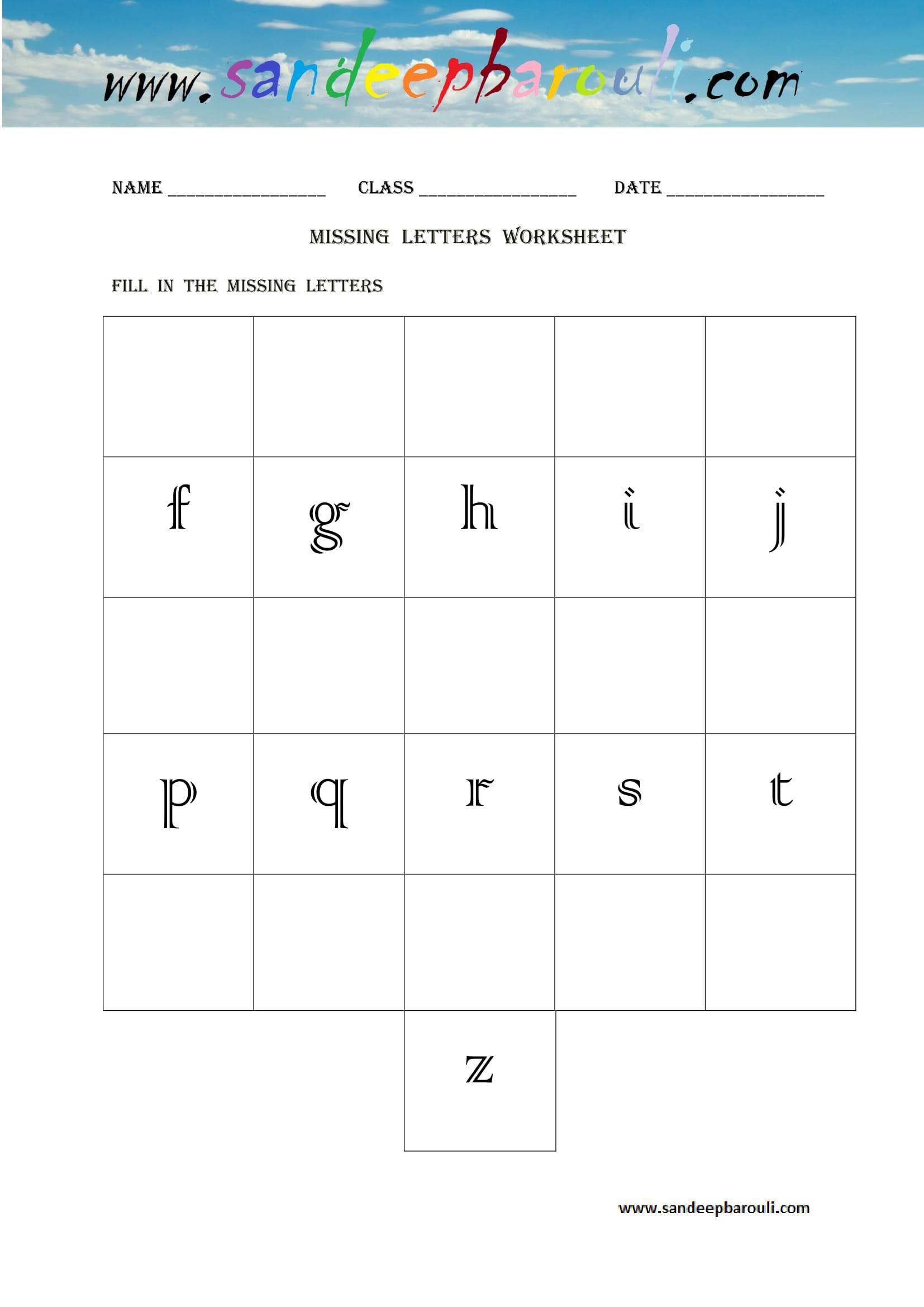 Missing Letters Worksheets Sandeepbarouli