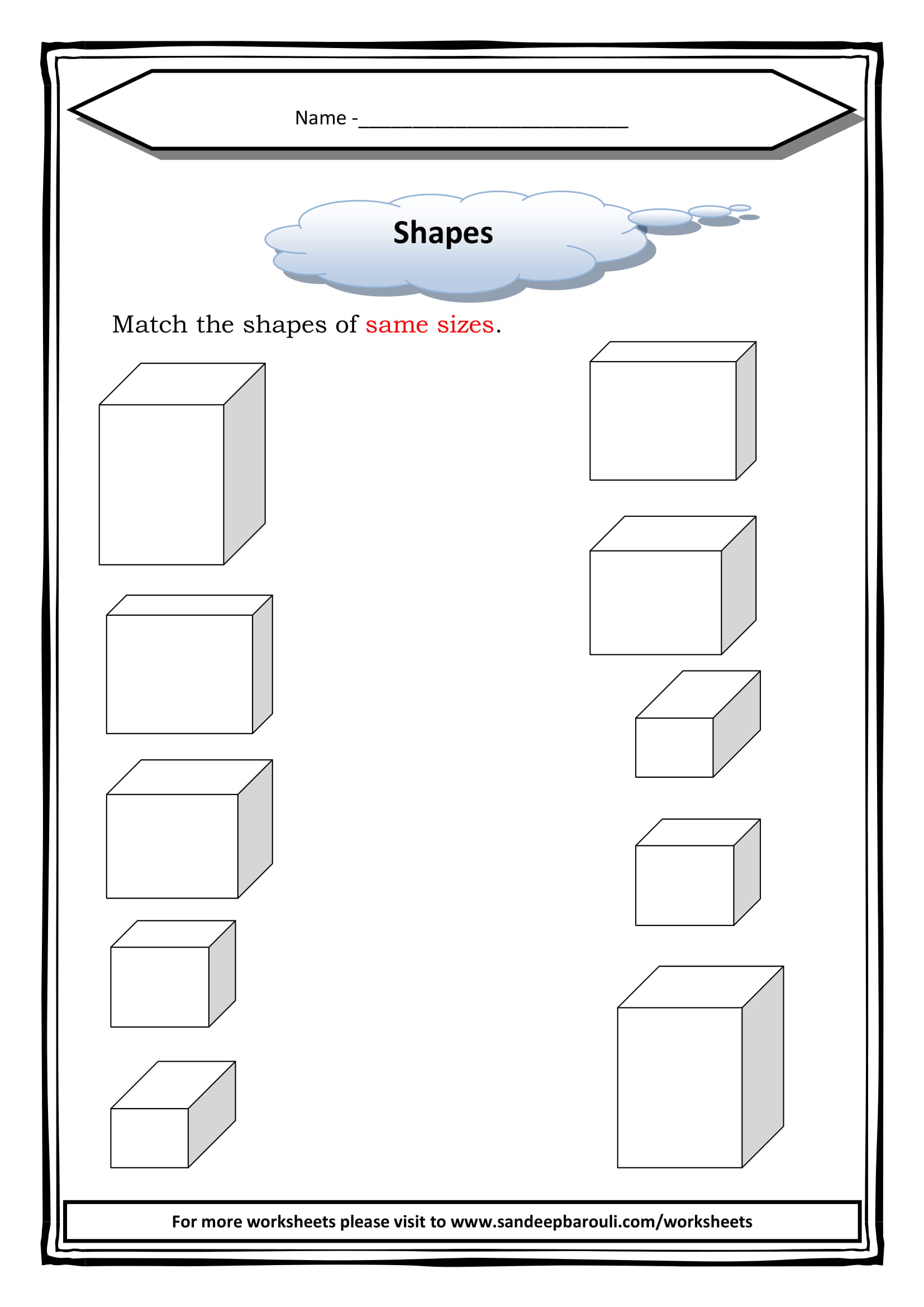 Match The Shapes Of Same Sizes Worksheet For Class 1
