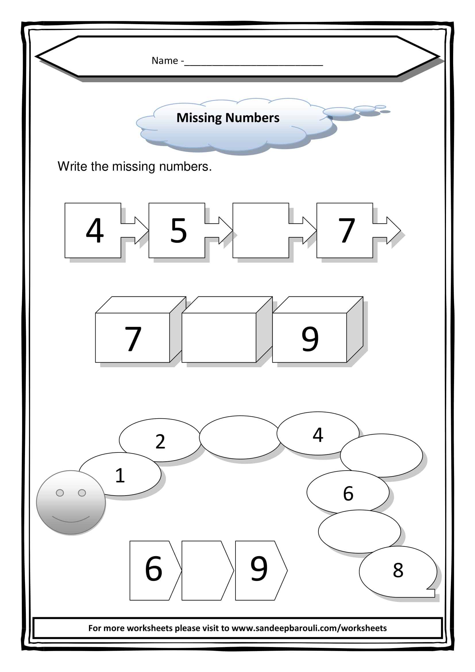 Missing Numbers Worksheet For Class 1