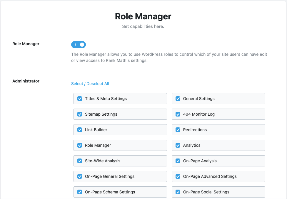 RankMath Role Manager
