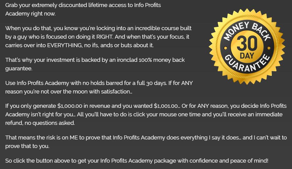 info profits academy review money back