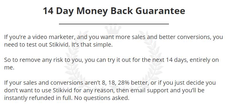 stikivid review money back guarantee