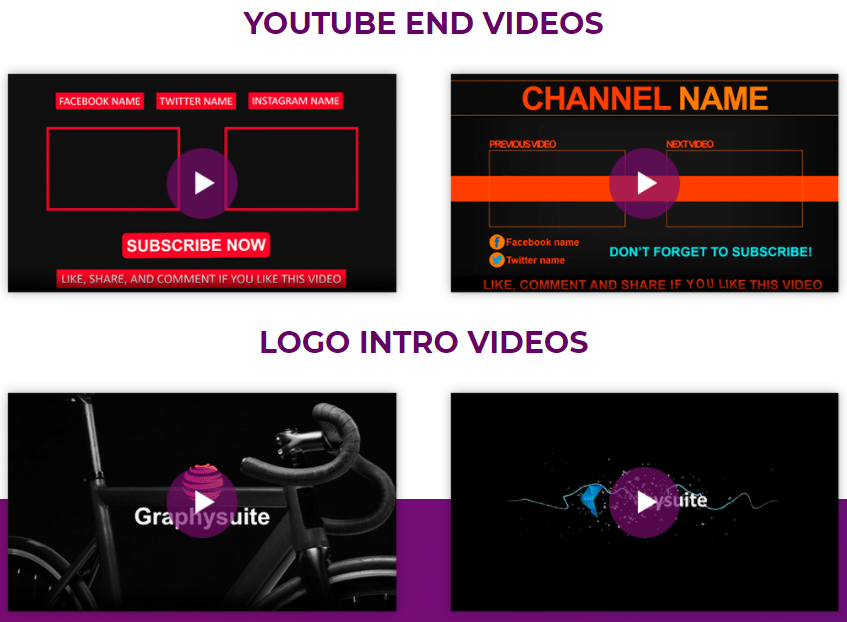graphysuite instagram youtube ads template