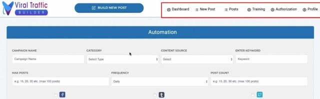 viral traffic builder review main dashboard