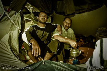 Camping refugees moved around in Brussels.