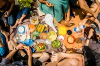 A pic nic was held on the street in the center of Brussels