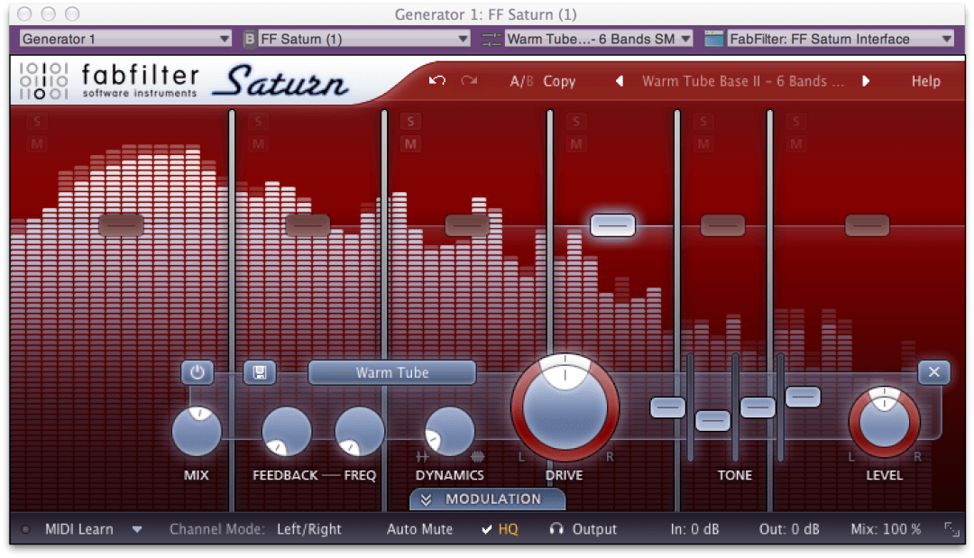 Fabfilter Saturn Warmtube