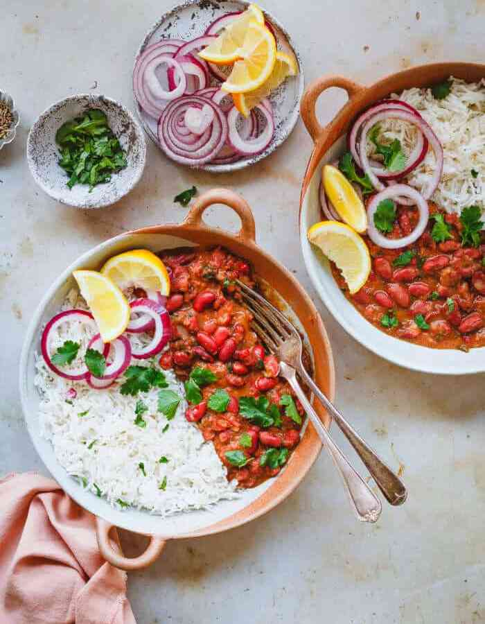 Rajma Masala and rice in bowl