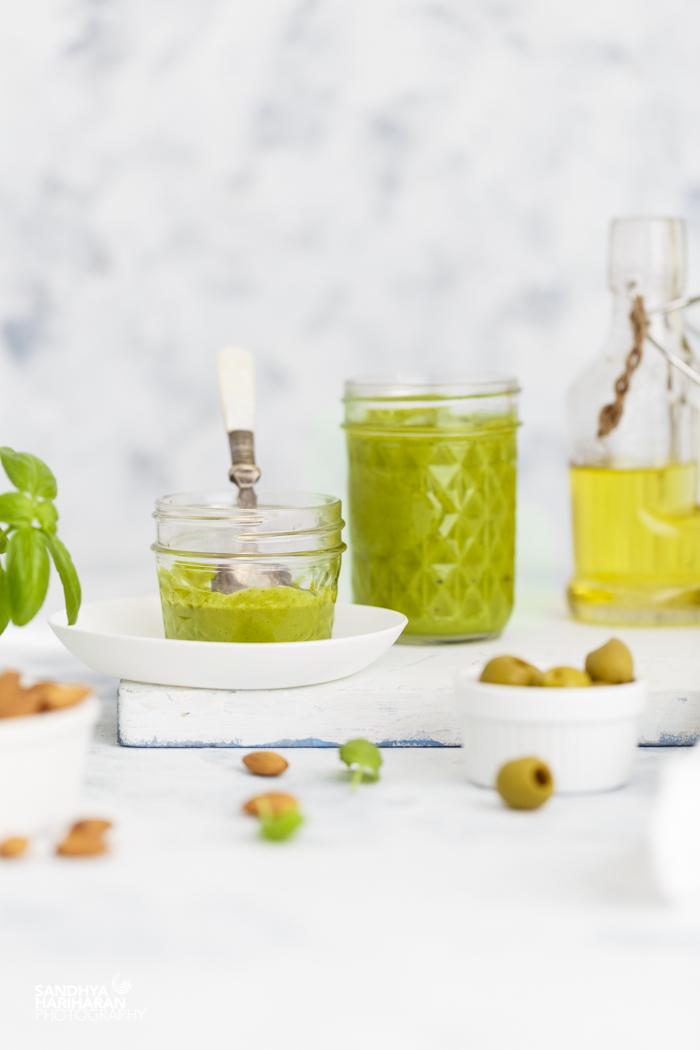 Basil Pesto in mason jars