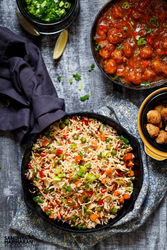 Vegetable Fried Rice served with Gobi Manchurian