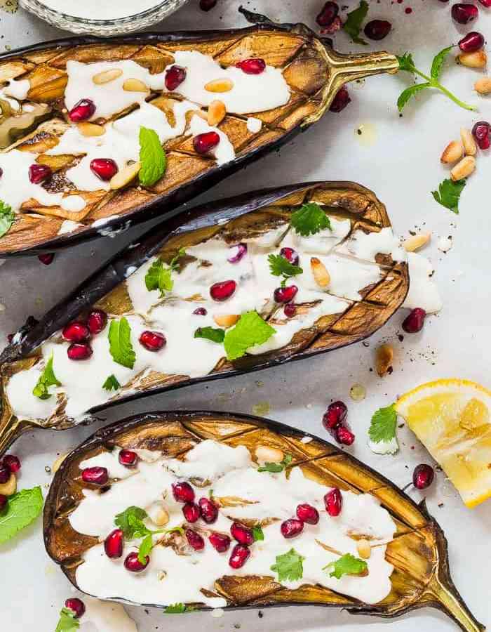 roasted aubergine boats
