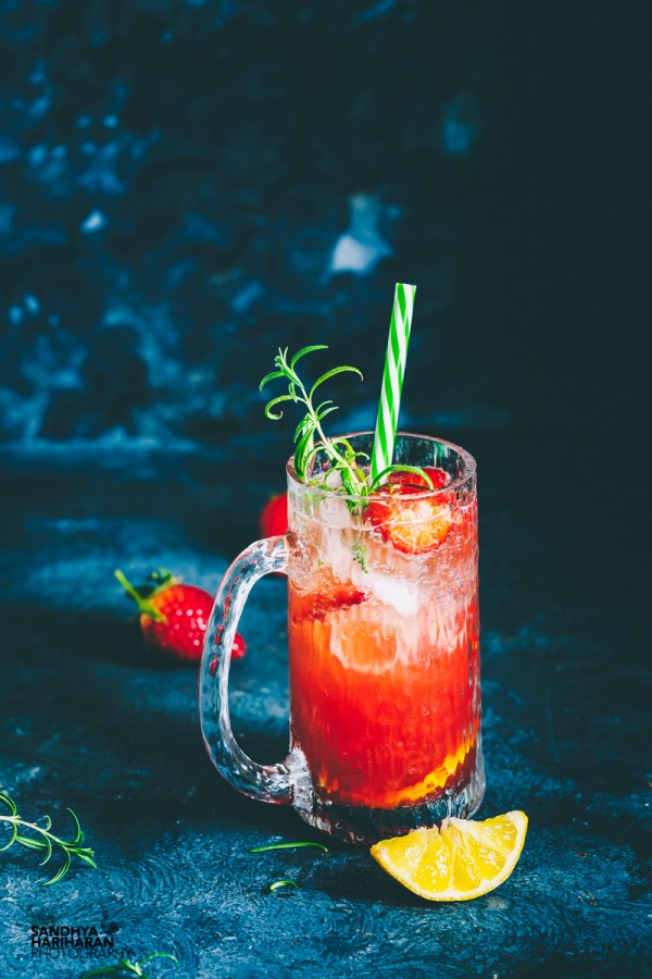 Rosemary Strawberry Moscow Mule Cocktail