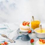 Meringues with Mango Lime Curd & Strawberries