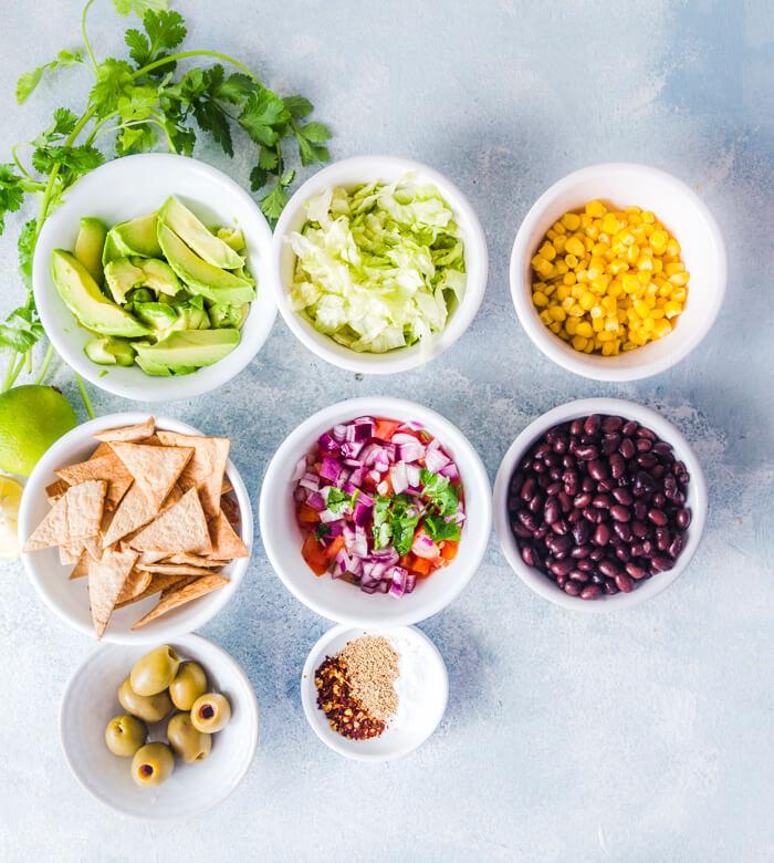 Mexican Mason Jar Salad Ingredients