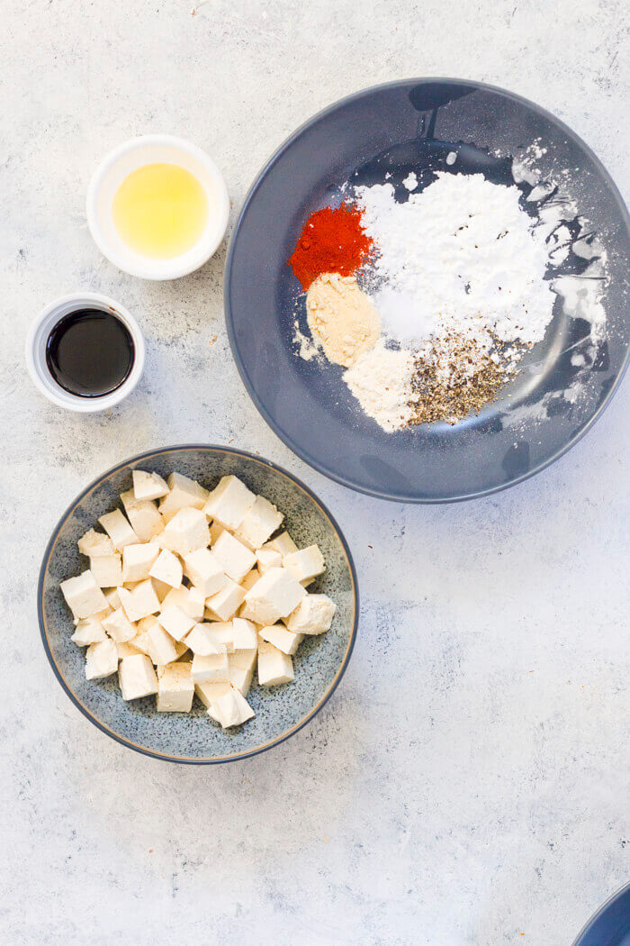Ingredients to make Crispy Tofu - Airfryer