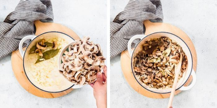 one pot easy mushroom rice step by step image