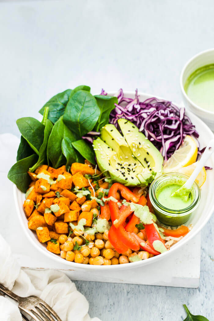 vegan buddha bowls with roasted sweet potatoes & chickpeas recipe image