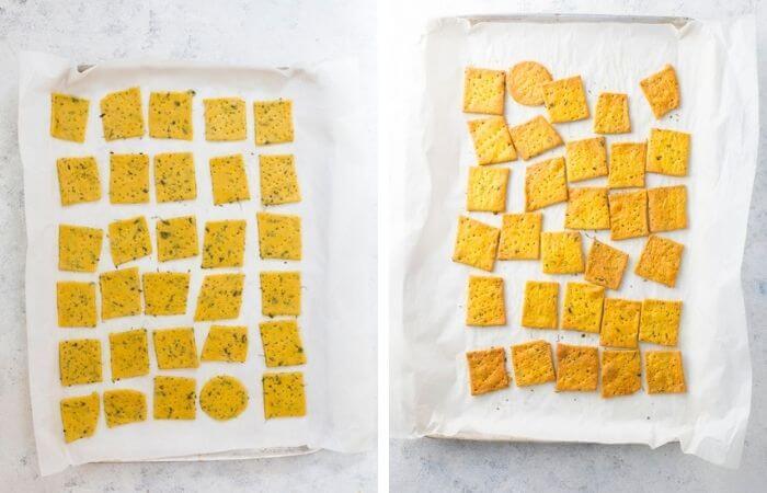 baked methi mathri on a baking tray