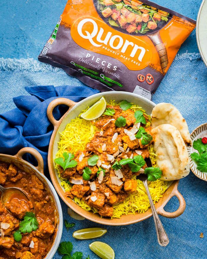 Quorn Vegetarian Rogan Josh served in bowls