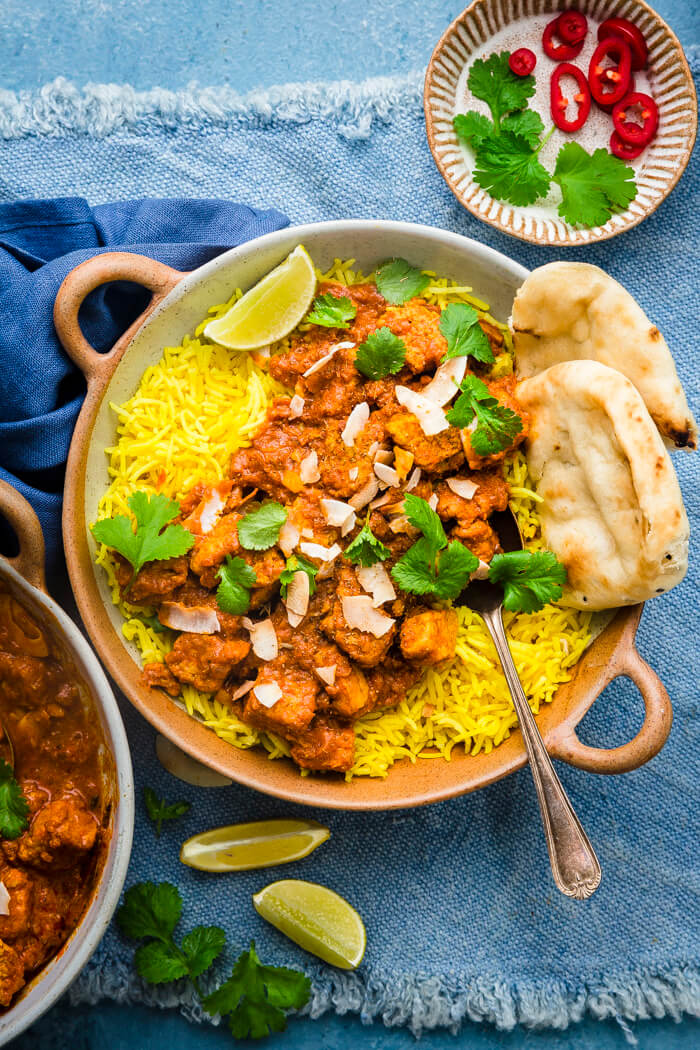 vegetarian rogan josh served on a bed of rice
